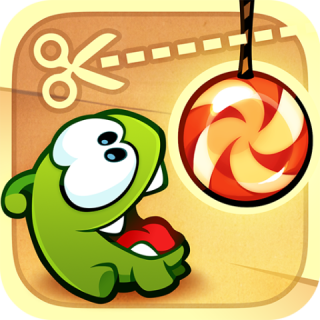 Cut The Rope (The objective is to 'Cut The Rope' by touching it in the right place with a star (or other tool) in a way that will pop the candy into Om Nom's mouth