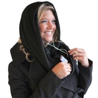 Travel Hands Free Wrap as a head scarf