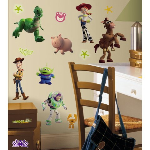 Toy Story 3 Removable Glow In The Dark Wall Stickers:  Disney