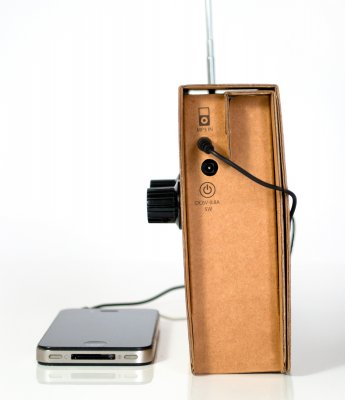 Cardboard Radio plug in for MP3 player; design by Christopher McNicholl: © SUCK UK
