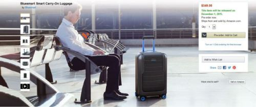 Bluesmart Carry-On Luggage is one of many new startups being featured on Amazon Launchpad