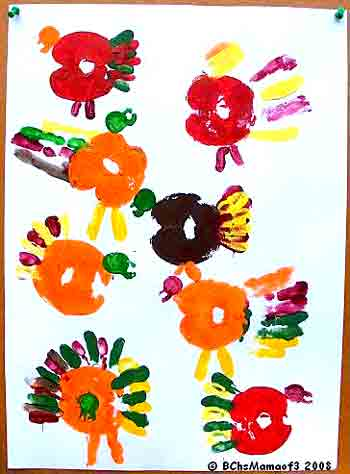 Apple Print Turkeys