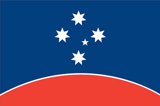 """Design #3,"" a proposed new country flag for Australia: image via smh.com.au"