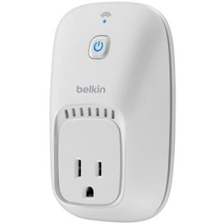 Belkin WeMo Switch: WeMo Electrical Outlet Switch.  Plug it in to an outlet and sync it up to your iPhone or iPad. Then control it anywhere from your iPhone.