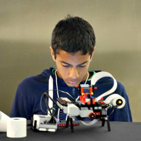 Braigo Braille Printer Made from Legos: Shubham Banerjee and his Braigo design (image via Facebook)