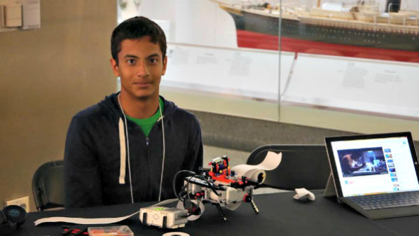 14-Year-Old Inventor Creates Braille Printer From Legos: Shubham Banerjee and his Braigo design (image via Facebook)