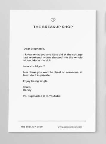 Breakup Shop Custom Letter