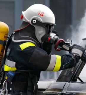 C-Thru Smoke Diver Helmet in use by Sweden's Umea Fire Dept.