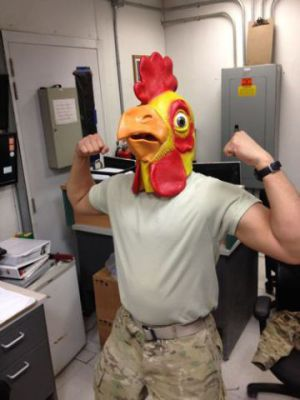 Chicken Head Mask - Sgt. Rooster: We love a WTF Chicken Head in Uniform