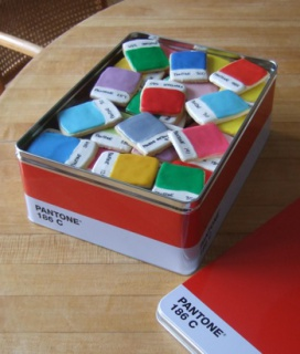 Pantone Chip Cookies in giftable Pantone Tin:  Kim Neill