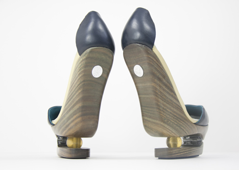 Kinetic Traces Wooden Heels-Back View: Source: Dezeen