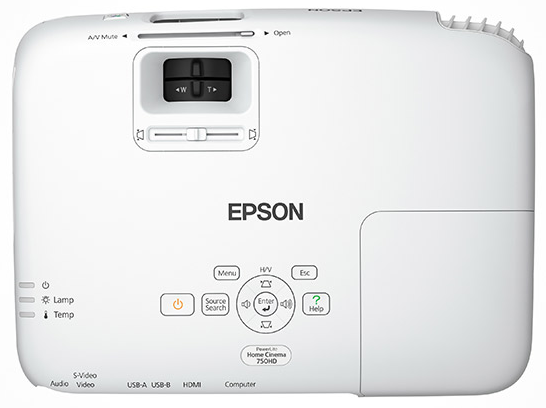 Top down view of the Epson Powerlite 750HD