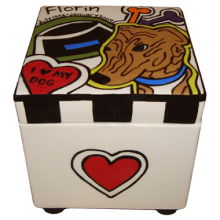 Florin The Brindle Greyhound Pet Urn: ©ChowTime Productions