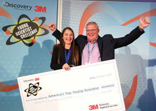 Hannah Herbst, 2015 Discovery Education 3M Young Scientist Challenge Winner: Herbst and program mentor Dr. Emslander