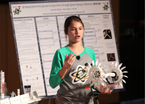 2015 Discovery Education 3M Young Scientist Challenge: Hannah Herbst making her presentation
