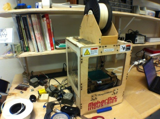 Thing-o-Matic: An Older Makerbot, called the Thing-o-Matic.