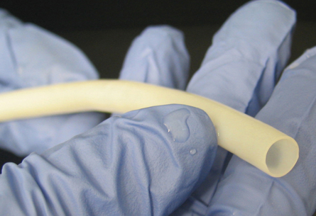 One of the larger bioengineered blood vessels like those used for baboon models: Image courtesy of Science/AAAS via Humcyte.com