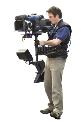 This is a Steadycam.  Awesome for shots... but not light.  Picture courtesy Fryfilm2000.