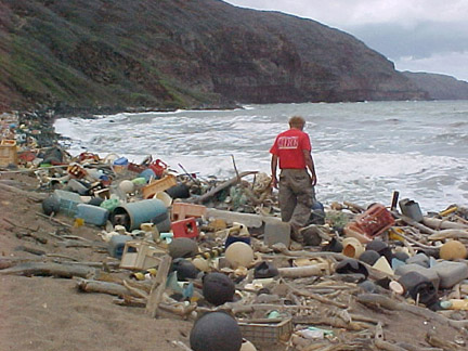 Marine debris: today's ocean trash, shown here on the Hawaiian coast, may be tomorrow's roadways.