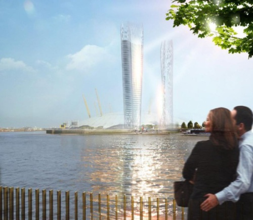 NBBJ/2015: The proposed site for the first pair of skyscrapers is in Greenwich, not far from the Prime Meridian.