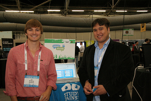OpenStudy promotion booth. Photo by TechCrunch.