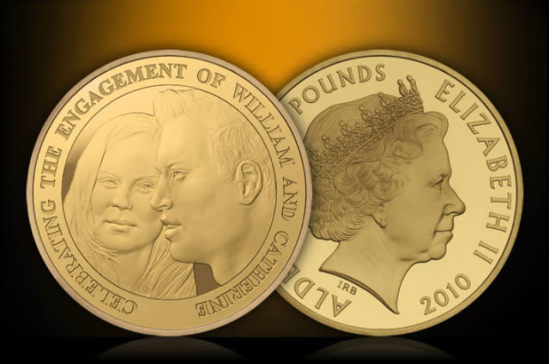 The Royal Engagement Alderey £5 Coin - 22k gold edition