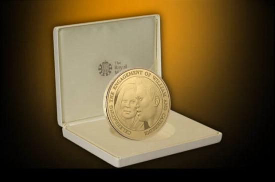 The Royal Engagement Alderey 5 Coin - gold-plated solid silver coin:  The Royal Mint