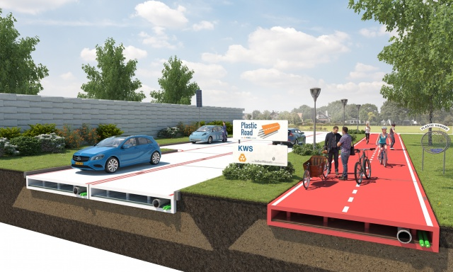 Plastic roads and bike paths: this design concept by Dutch consortium VolkerWessels promises to be a sustainable alternative to asphalt paving.