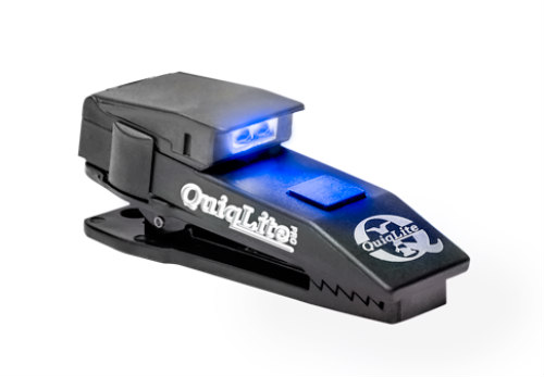 QuiqLite X Rechargeable LED Flashlight: Blue & white LED light model of QuiqLite X
