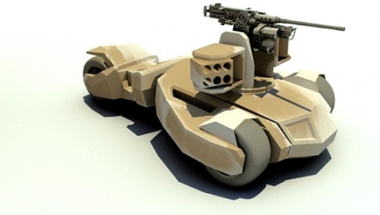 The Raider, BAE's prototype skirmisher, inspired by the Batmobile: © BAE Systems