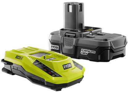 Lithium Ion Battery: Ryobi Lithium Ion power tool battery and recharger.