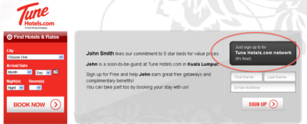 Tune Hotels newsletter sign-up