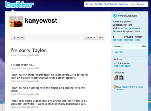 Kanye West&#039;s Twitterstream of apologies to Taylor Swift