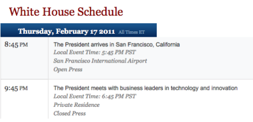 President Obama's February 17th Itinerary in San Francisco