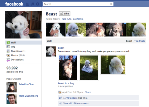 "Mark Zuckerberg's Fan Page for ""Beast"""