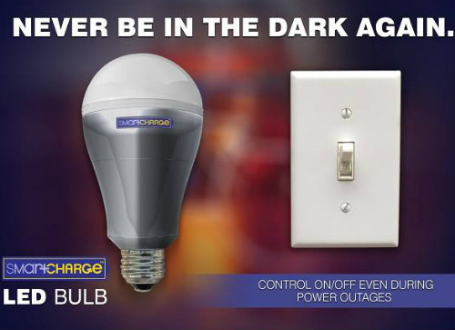 SmartCharge LED Bulbs Work Even Without Power: The SmartCharge 2.0 smart bulb (image via SmartCharge Facebook)