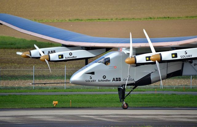 Solar Impulse 2: this solar-powered plane is on a round-the-world journey to inspire the use of renewable energy technology. Image from Milko Vuille.