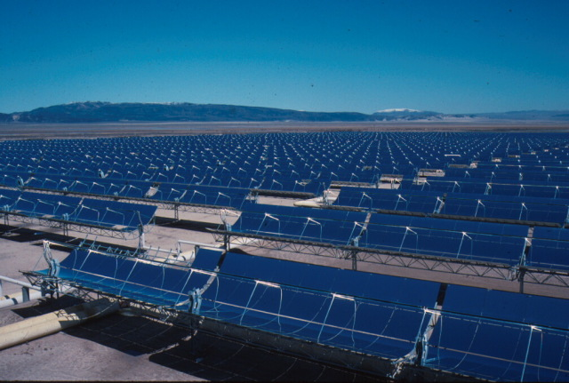 Solar power array: big solar plants like this have panels that track the sun, but until now that technology has been unavailable to home users.