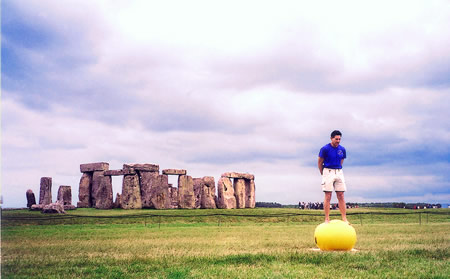 Standing on Stability Ball at Stonehenge - Winning