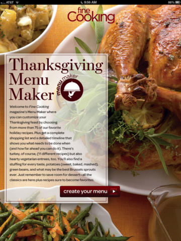 Thanksgiving Menu Maker App