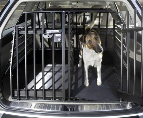 Variocage Double has a removable divider which can be shifted to accommodate the sizes of your two dogs: image via subaru.de