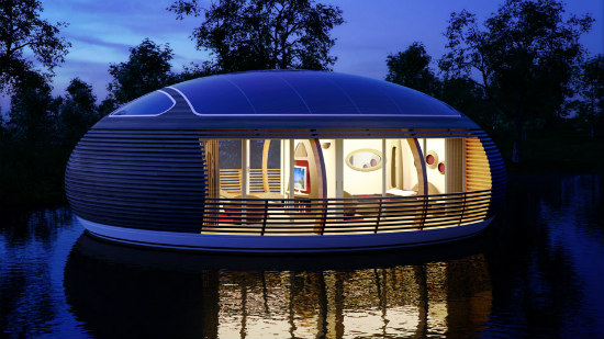 The WaterNest Floating Home: Made entirely from recycled materials