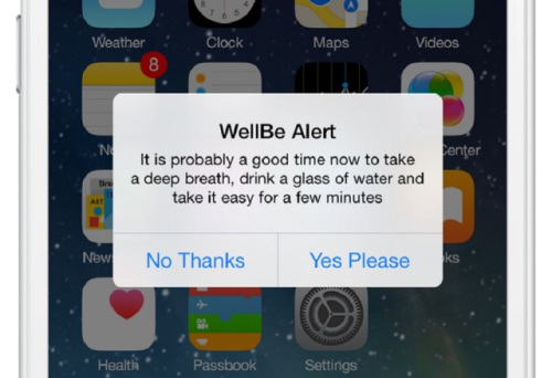 The WellBe app helps monitor stressors based on information provided by the user and sends out timely alerts.