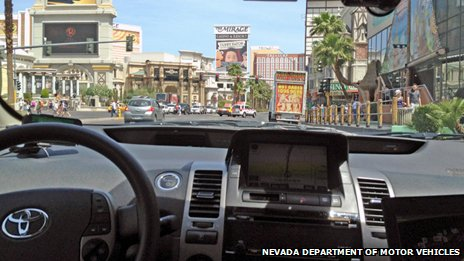 View of the &#039;Strip&#039; from the Google autonomous car: Nevada Department of Motor Vehicles