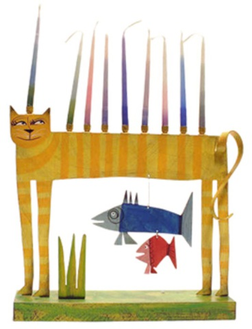 Cat and Fish Menorah: image via artcraftonline.com
