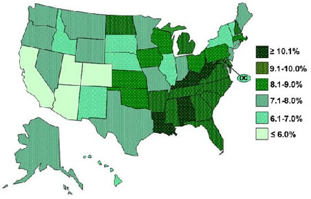 State-based Prevalence Data of ADHD Diagnosis: image from U.S. Centers For Disease Control