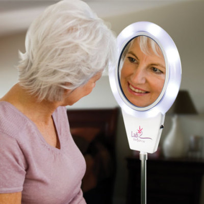 Adjustable Height Magnifying Mirror