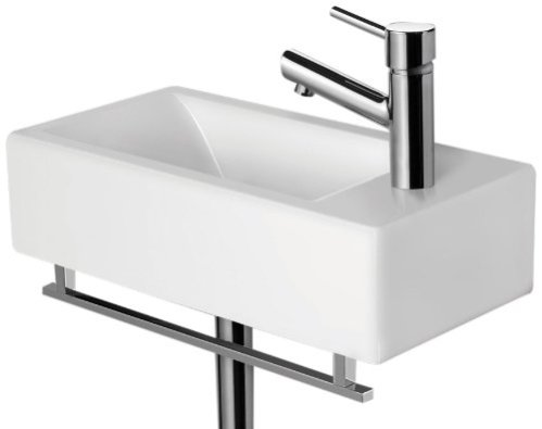A sink that takes up little visual space integrated with a pretty and  useful towel bar may ...
