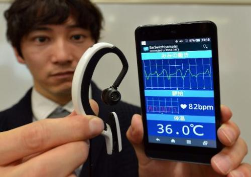 The Earclip-type Portable PC paired with a smartphone