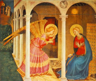 The Annunciation: also Lady Day and New Year: by Fra Angelico, circa 1438